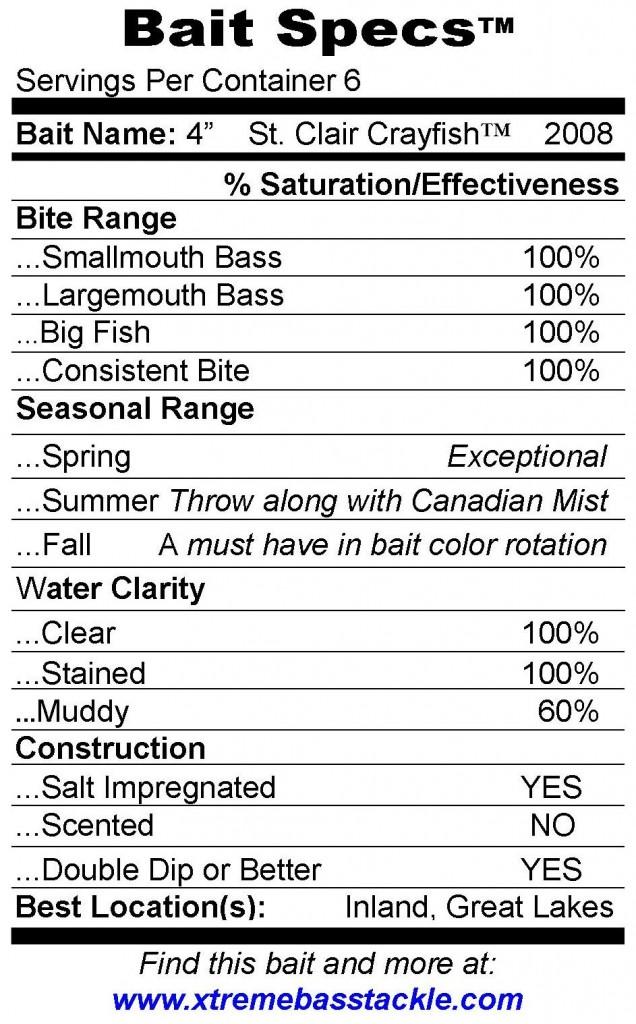 XBT Bait Specs 4 St Clair Crayfish